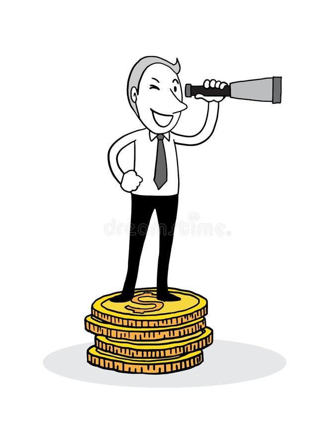 Бизнесмен смотря телескоп и положение на большой золотой монетке шарики габаритные 3 изолированное dood плана иллюстрации вектора иллюстрация штока