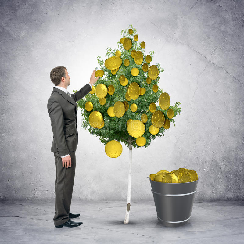 Бизнесмен собирая монетки от дерева стоковое изображение rf