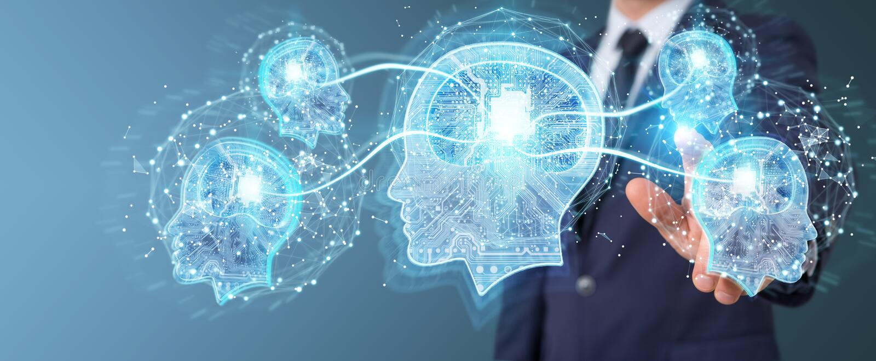 Бизнесмен создавая перевод искусственного интеллекта 3D иллюстрация штока