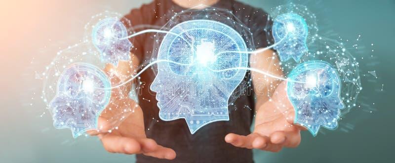 Бизнесмен создавая перевод искусственного интеллекта 3D иллюстрация вектора