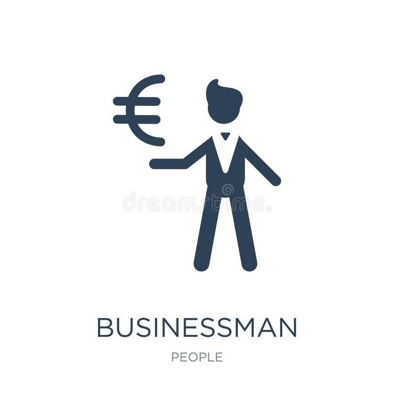 бизнесмен со значком валюты евро в ультрамодном стиле дизайна бизнесмен со значком валюты евро изолированным на белой предпосылке иллюстрация вектора