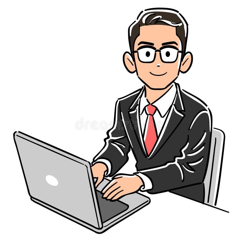 Бизнесмен со стеклами работая персональный компьютер бесплатная иллюстрация