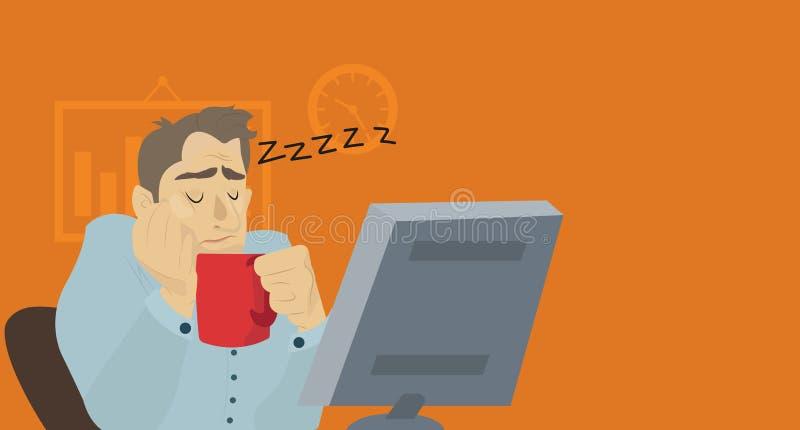 Бизнесмен спать на его столе офиса иллюстрация вектора