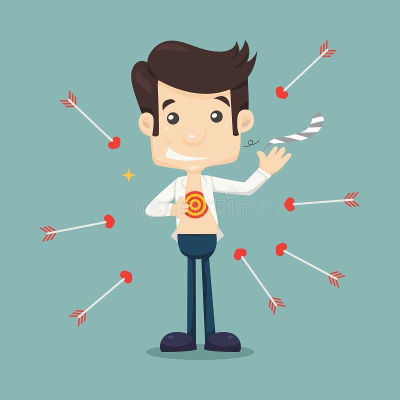 Бизнесмен срывая его рубашку для того чтобы показать символ цели иллюстрация штока