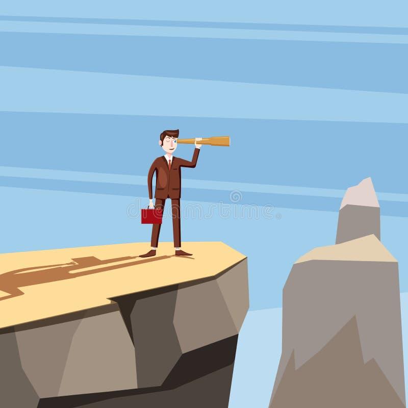 Бизнесмен стоит на горе монеток и смотрит afar через spyglass Принципиальная схема дела и финансов вектор бесплатная иллюстрация