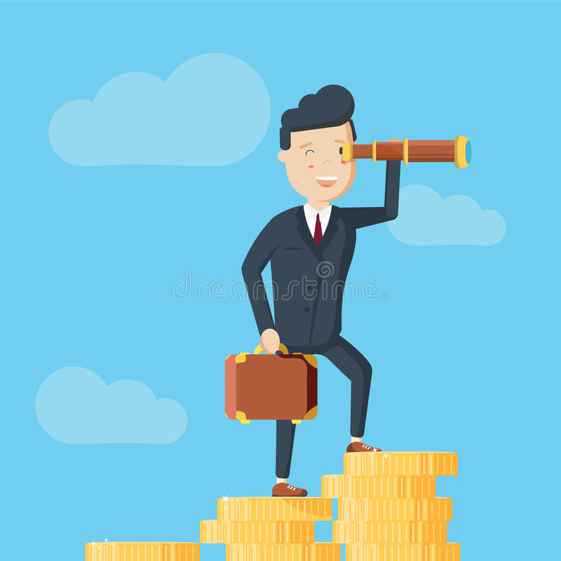 Бизнесмен стоит на горе монеток и смотрит afar через spyglass иллюстрация штока