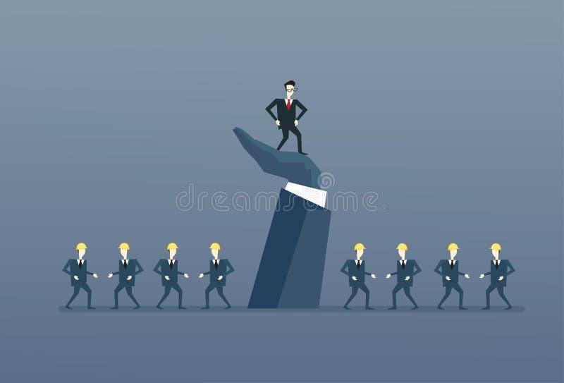 Бизнесмен стоя вверх на руководителе сильной руки с группы босса бизнесменами концепции руководства иллюстрация вектора