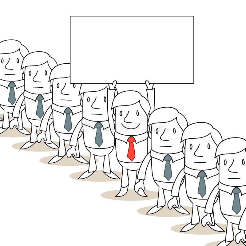 Бизнесмен стоя из толпы с знаком иллюстрация штока