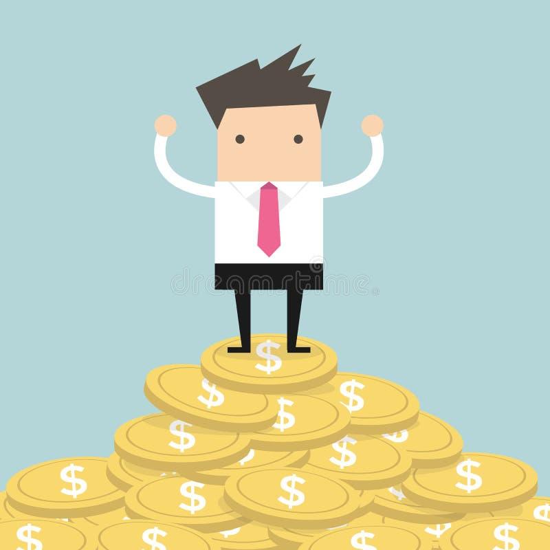 Бизнесмен стоя на золотой монетке иллюстрация вектора