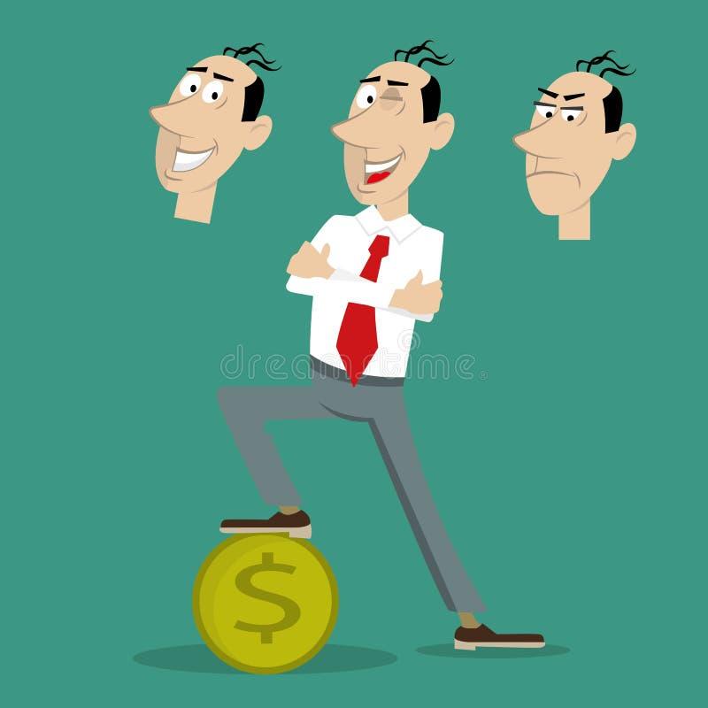 Бизнесмен стоя на монетке бесплатная иллюстрация