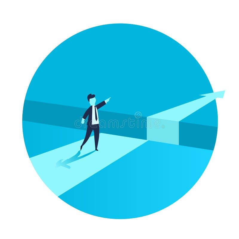 Бизнесмен стоя перед препятствием, зазор на пути к успеху, концепции дела разрешать проблему Проблемы и бесплатная иллюстрация