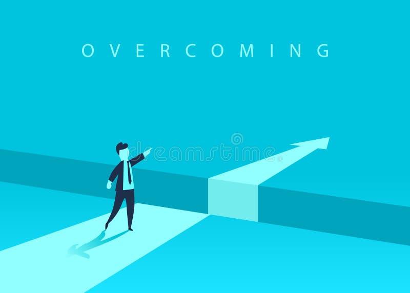 Бизнесмен стоя перед препятствием, зазор на пути к успеху, концепции дела разрешать проблему Проблемы и иллюстрация вектора