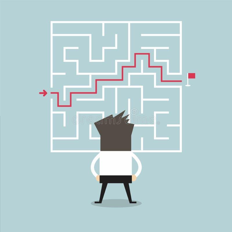 Бизнесмен стоя перед лабиринтом с решением к успеху иллюстрация штока