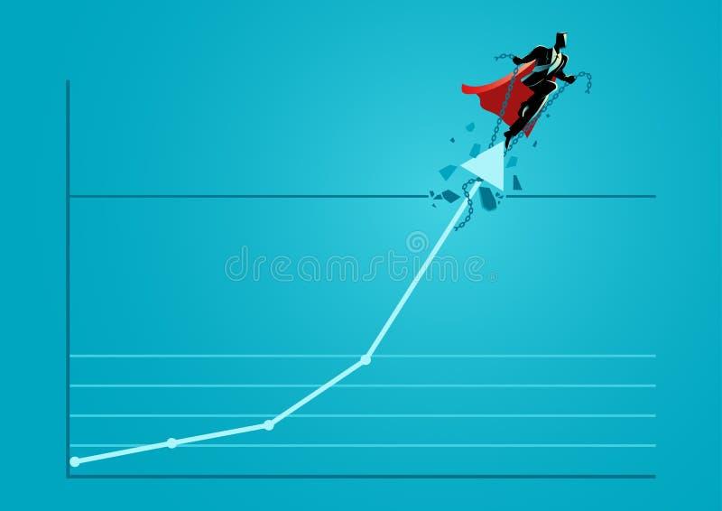 Бизнесмен супергероя принимая графическую диаграмму вверх через крышу иллюстрация штока