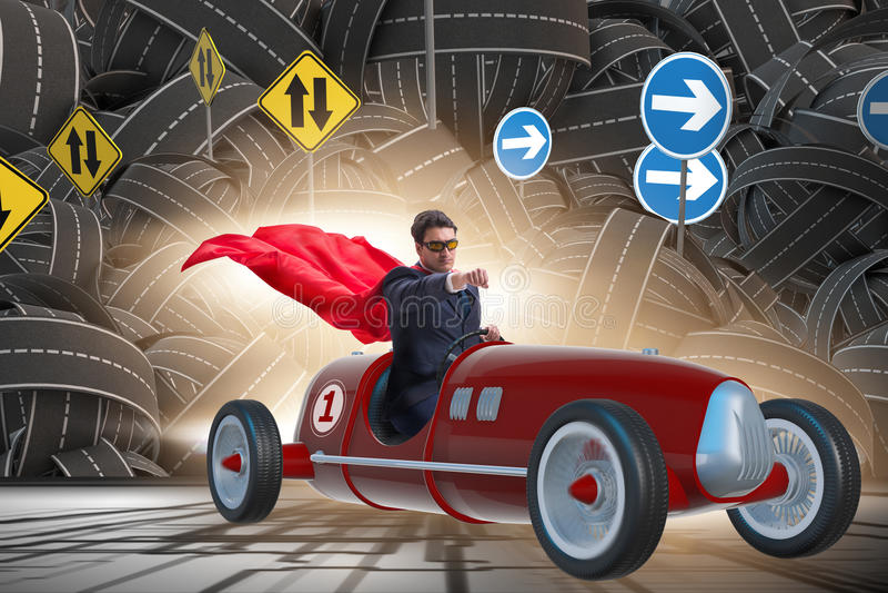 Бизнесмен супергероя управляя винтажным родстером иллюстрация вектора