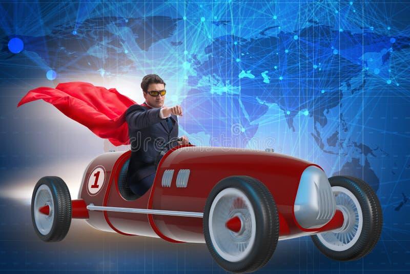 Бизнесмен супергероя управляя винтажным родстером стоковые изображения rf