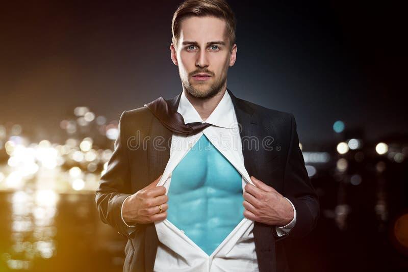 Бизнесмен супергероя стоковая фотография rf
