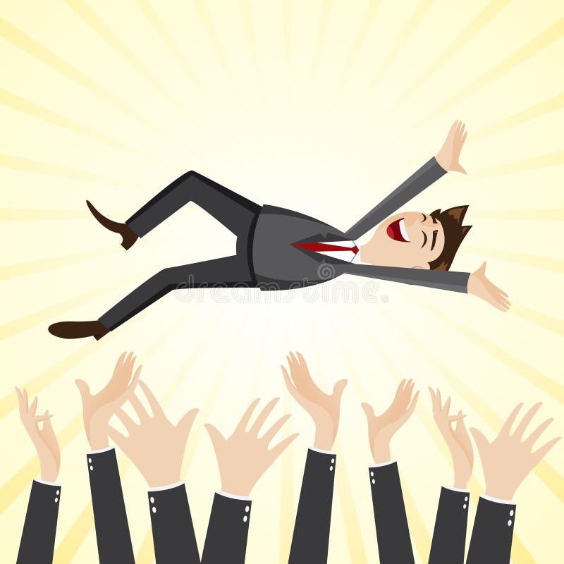 Бизнесмен счастья шаржа бросает вверх руку товарища по команде бесплатная иллюстрация