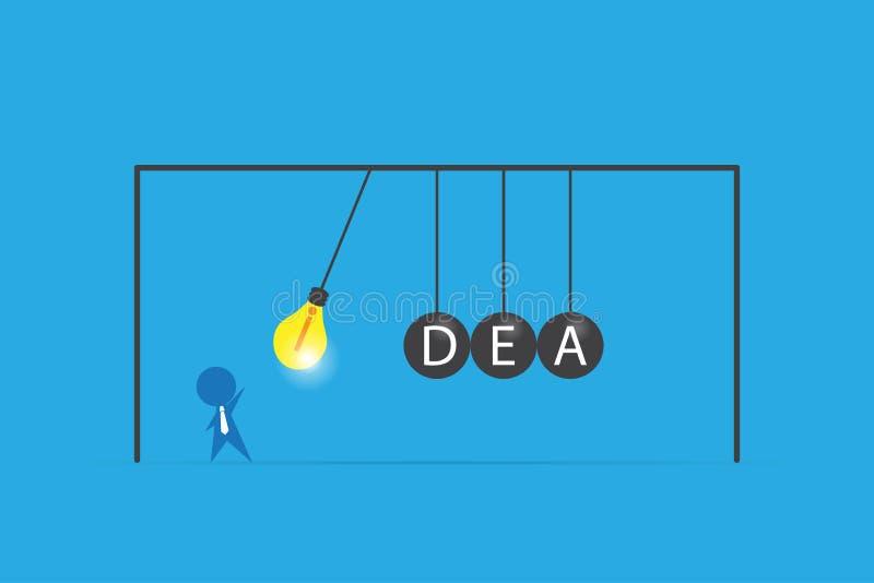 Бизнесмен с лампочкой и слово идеи на балансируя вашгерде ` s ньютона шариков, идее и концепции дела иллюстрация штока