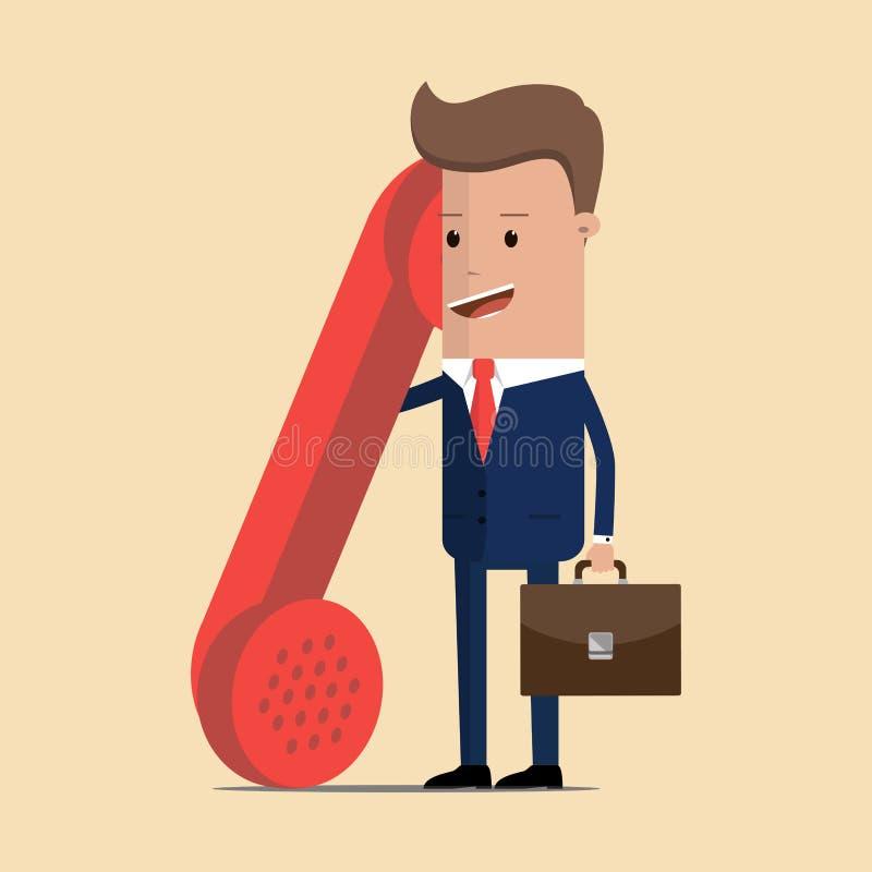 Бизнесмен с большой старой красной телефонной трубкой Свяжитесь или вызовитесь мы, работа с клиентом, дизайн центра телефонного о иллюстрация вектора