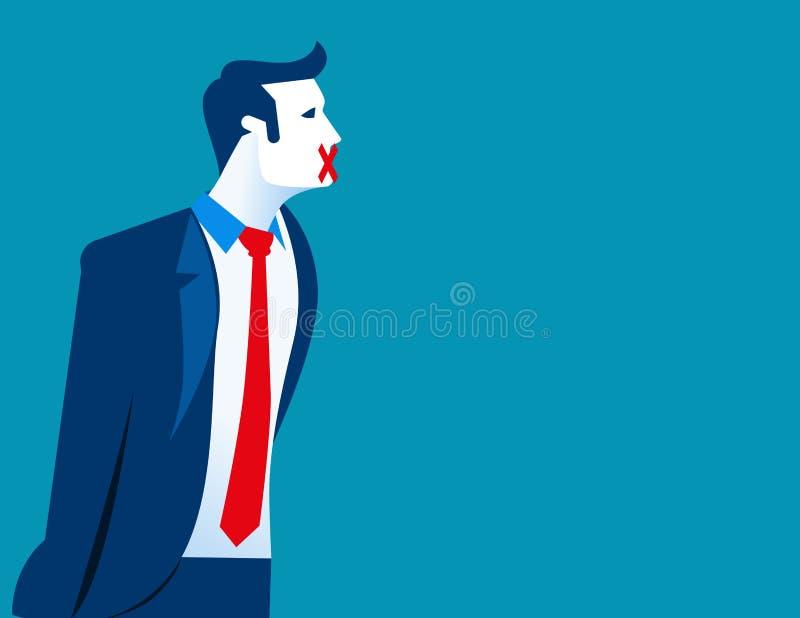 Бизнесмен с вставляя гипсолитом его рот, свобода слова иллюстрация штока