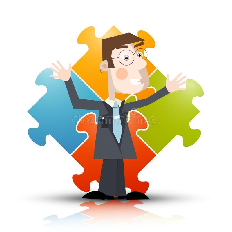 Бизнесмен с головоломкой на предпосылке иллюстрация вектора