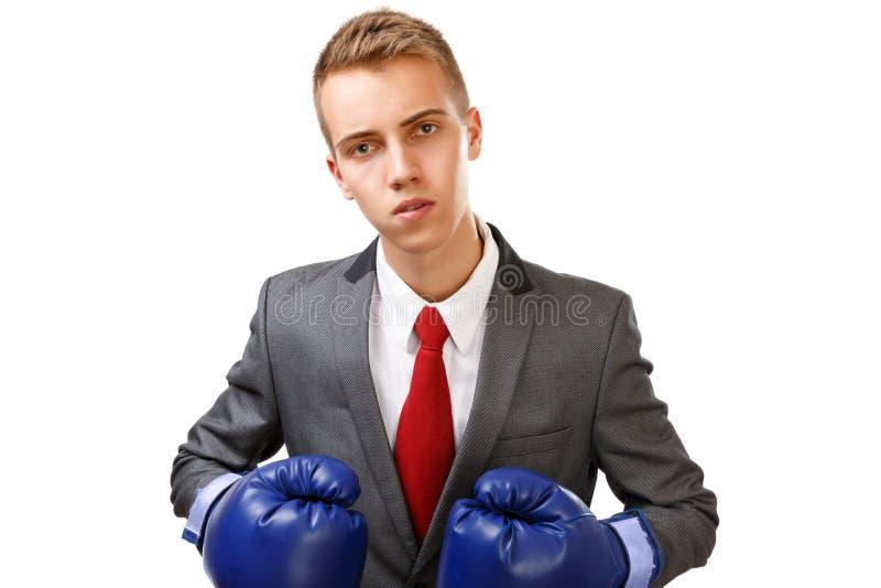 Бизнесмен с голубыми перчатками бокса стоковое изображение rf