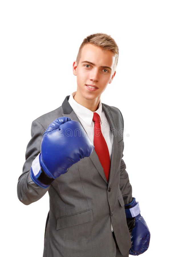 Бизнесмен с голубыми перчатками бокса стоковое фото rf