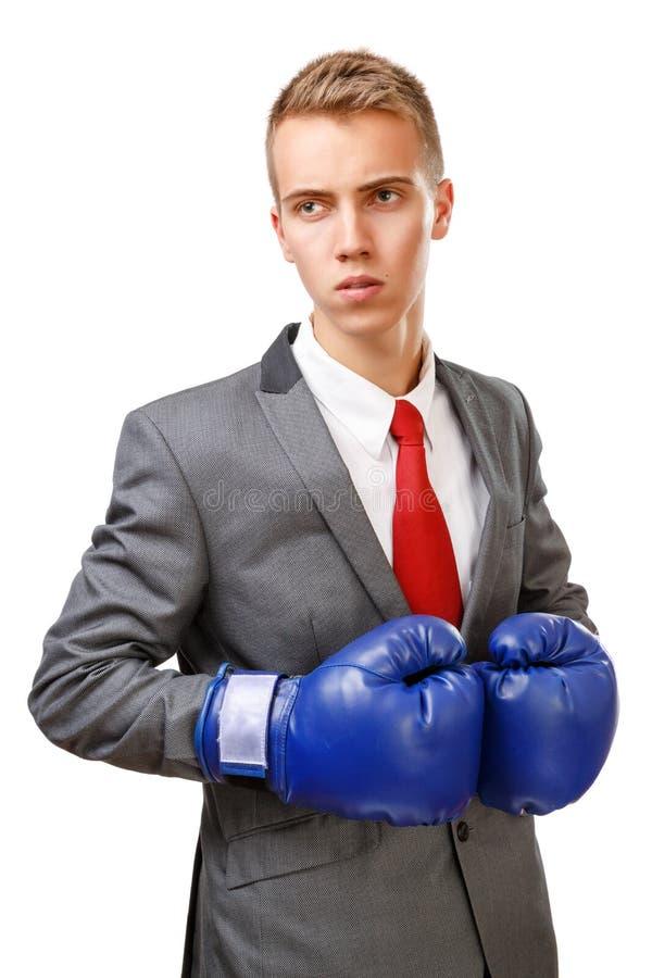 Бизнесмен с голубыми перчатками бокса стоковые изображения rf