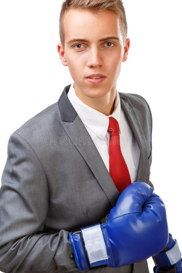 Бизнесмен с голубыми перчатками бокса стоковая фотография