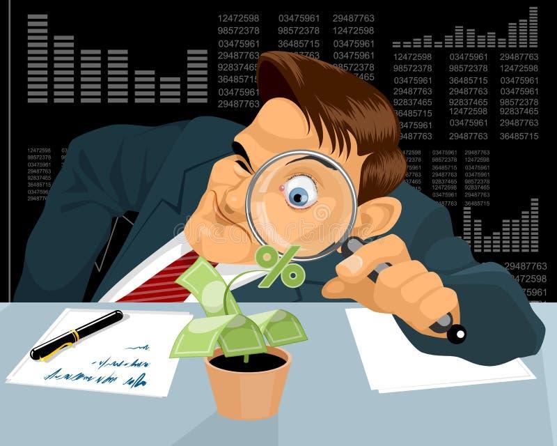 Бизнесмен с деревом денег иллюстрация штока