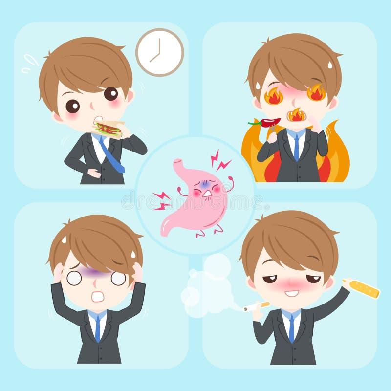 Бизнесмен с изжогой бесплатная иллюстрация
