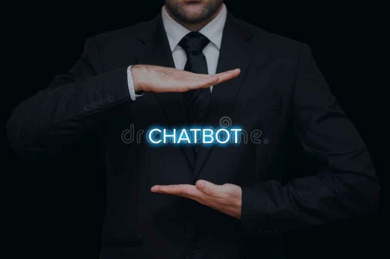 Бизнесмен с концепцией chatbot стоковая фотография