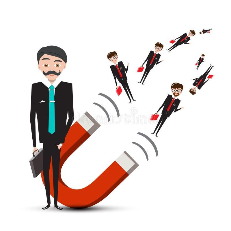 Бизнесмен с магнитом бесплатная иллюстрация
