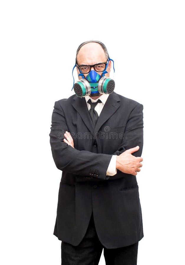 Бизнесмен с маской противогаза стоковая фотография rf