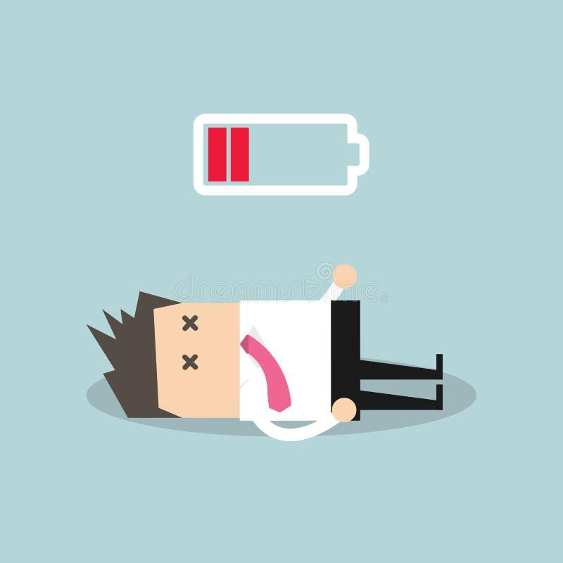 Бизнесмен с низкой батареей бесплатная иллюстрация