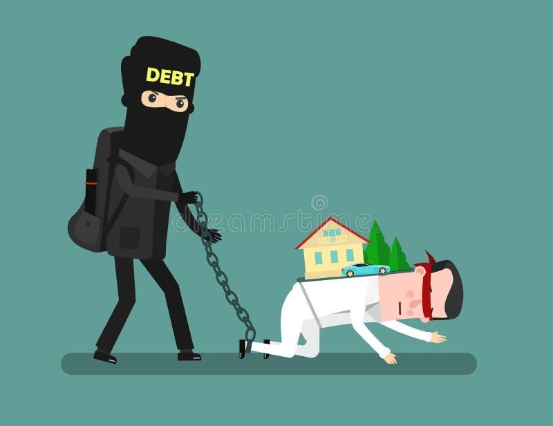 Бизнесмен с проблемами кредита Задолженность взятия человека Иллюстрация вектора шаржа концепции дела иллюстрация вектора