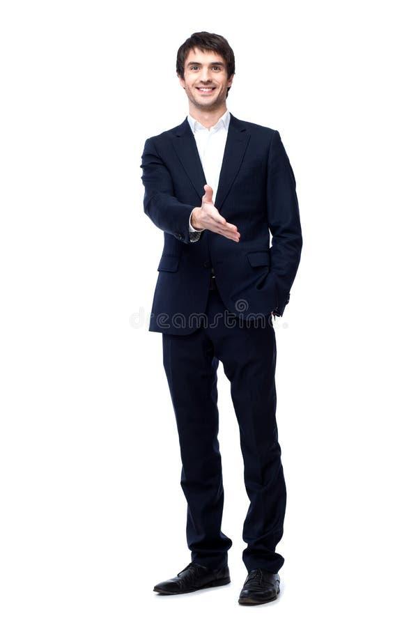 Бизнесмен с рукой готовой для того чтобы загерметизировать дело стоковое фото rf