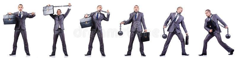 Бизнесмен с сережками на белизне стоковое фото rf