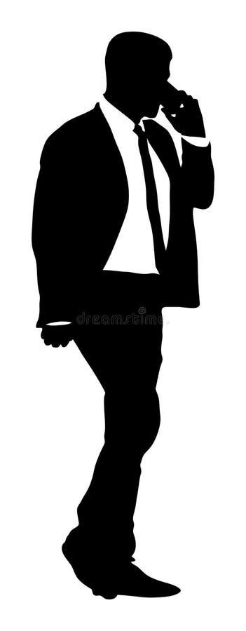 Бизнесмен с силуэтом мобильного телефона иллюстрация вектора