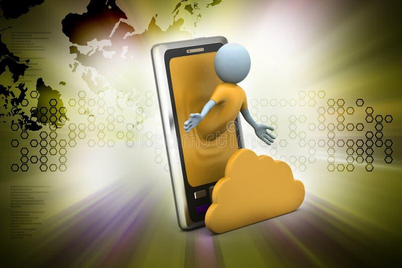 Бизнесмен с умными телефоном и облаком стоковые изображения rf
