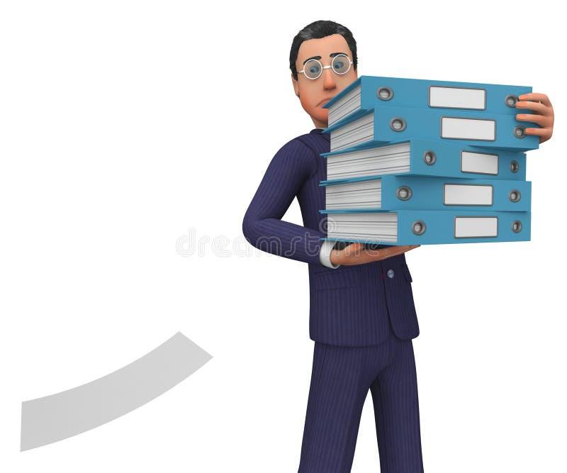 Бизнесмен с Файлами Показывать Отвечать Бизнесменами и Корпорация иллюстрация вектора