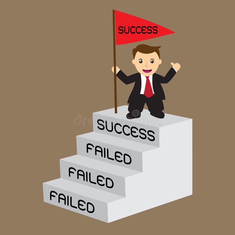 Бизнесмен с флагом успеха на верхней лестнице, концепции для challen иллюстрация штока