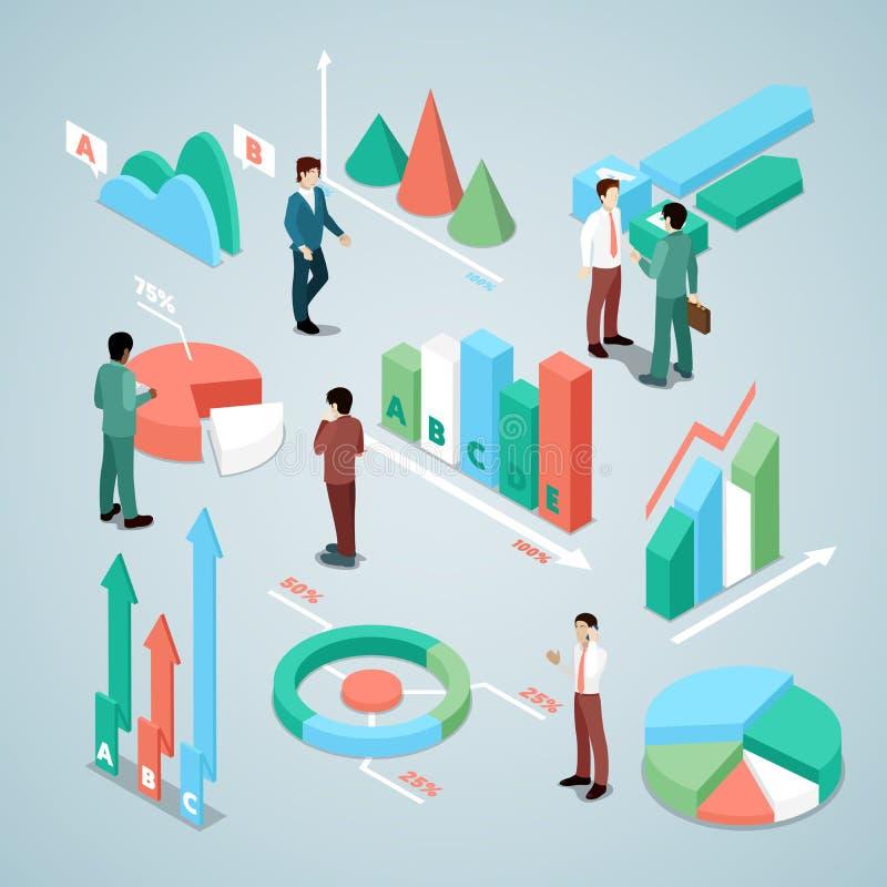 Бизнесмен с элементами статистик Анализ финансового состояния Analytics дела иллюстрация вектора