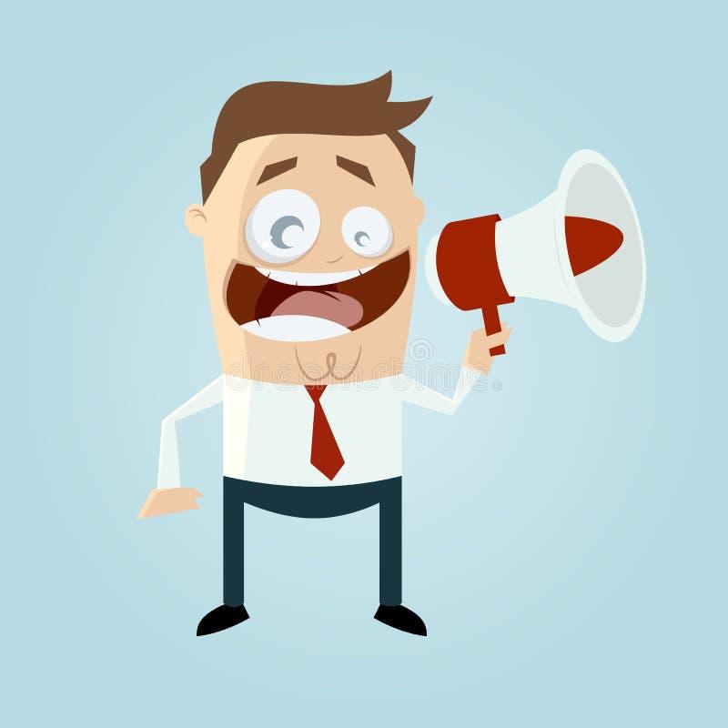 Бизнесмен с loudhailer иллюстрация штока