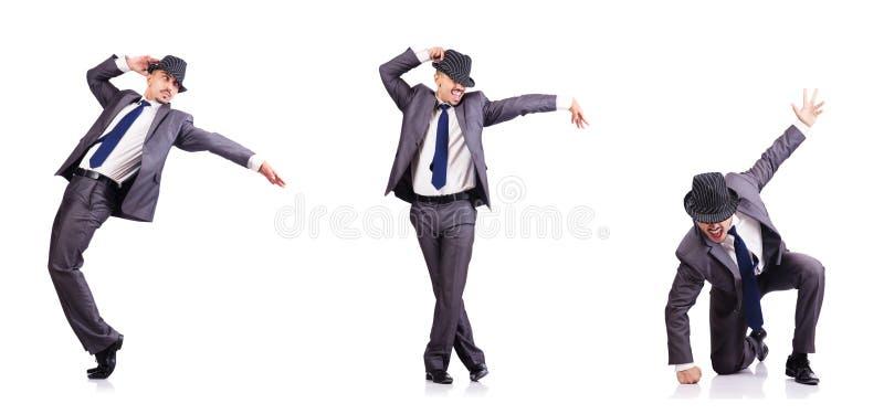Бизнесмен танцев изолированный на белизне стоковая фотография rf
