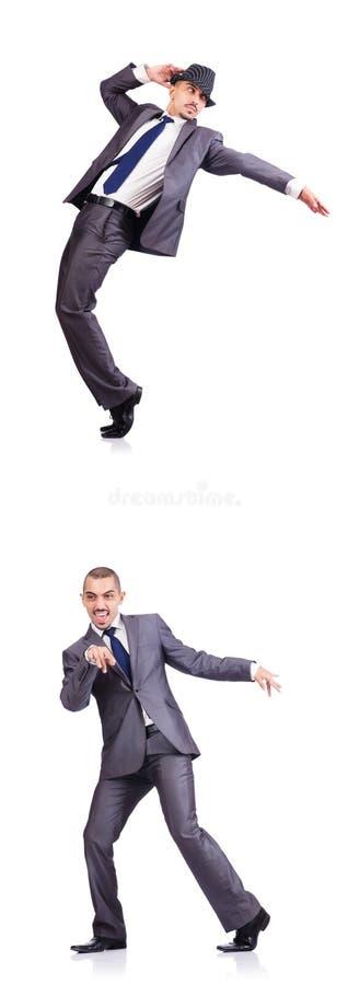 Бизнесмен танцев изолированный на белизне стоковые фотографии rf
