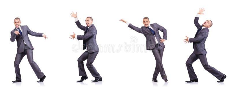 Бизнесмен танцев изолированный на белизне стоковые фото