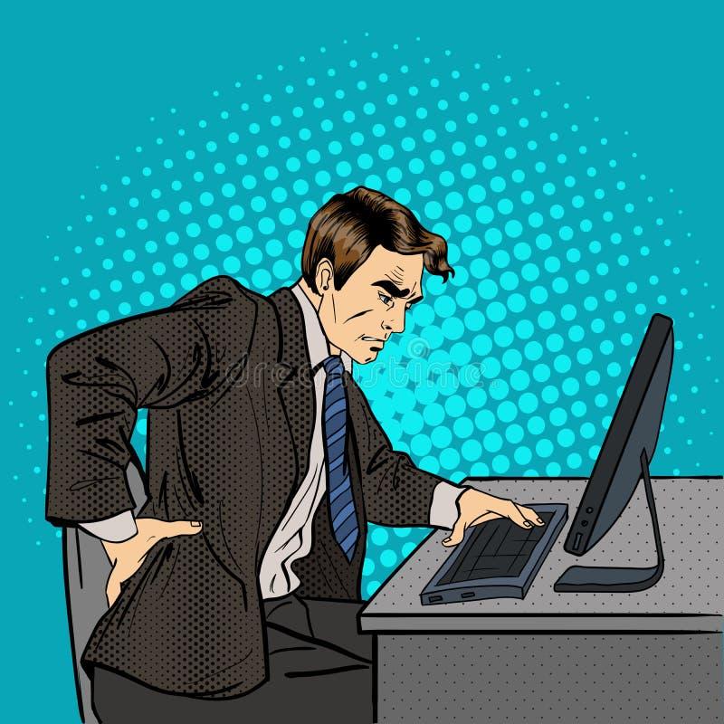 Бизнесмен терпя от backache Бизнесмен на работе бесплатная иллюстрация