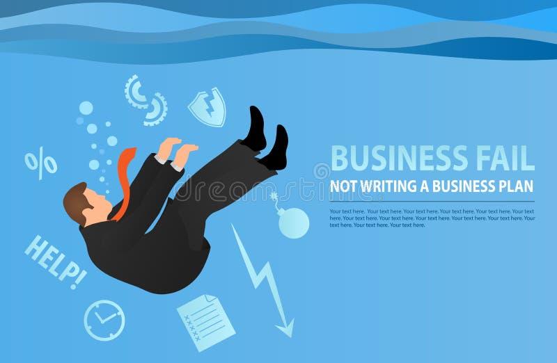 Бизнесмен тонуть в его проблемах Метафора плохого дела o Коммерческая задача иллюстрация вектора